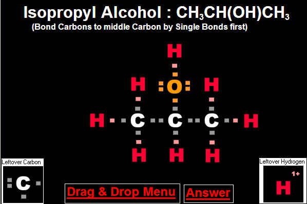 Answer to Drag and Drop Isopropyl Alcohol Molecule